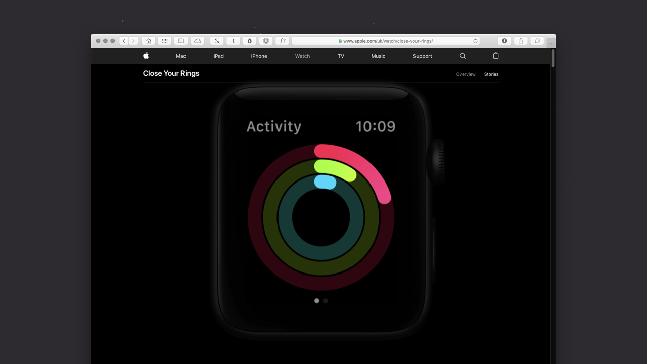 Landing page of the Apple Activity website